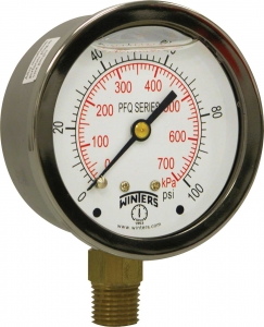 PFQ Stainless Steel Liquid Filled Pressure Gauge